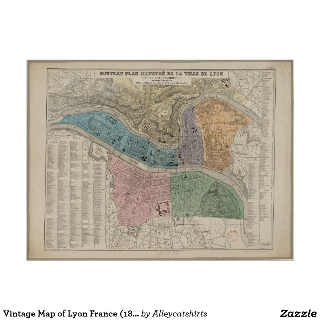 Vintage Map of Lyon France 1872 Poster