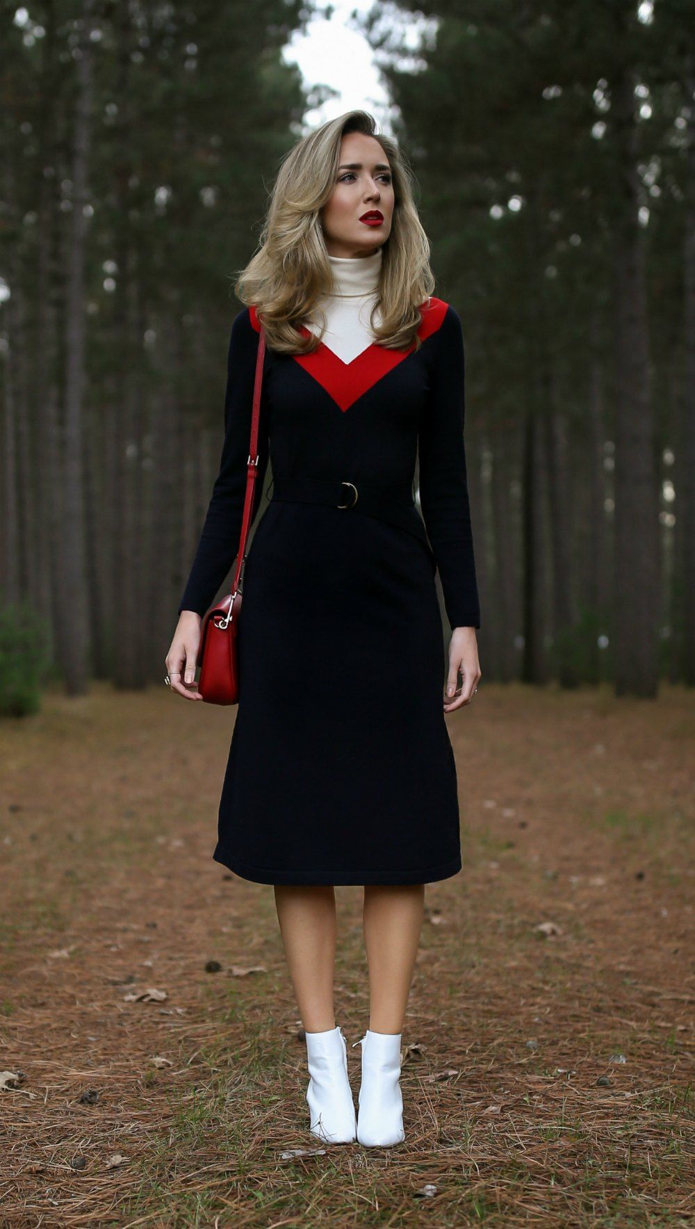Ski Trip Turtleneck Sweater Midi Dress White Leather Ankle Boots Red Leather Cross Body Bag And A Deep Red Classy Dress Sweater Dress Midi Fashion Classy [ 1767 x 1000 Pixel ]