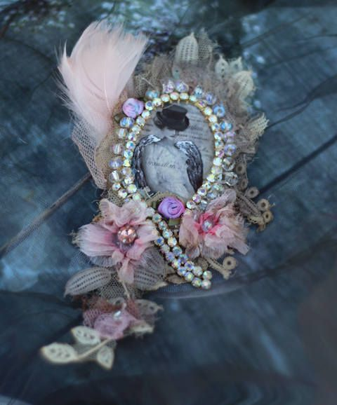 The old poem brooch antique lace embroidered and beaded
