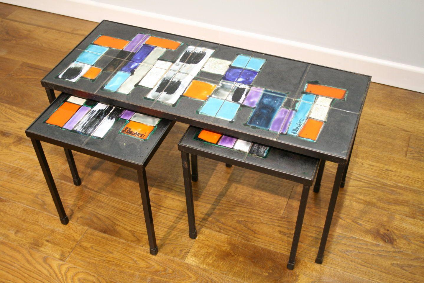 Funky Nest Of Belgian Tiled Tables C 1970 Signed J Belarte Tile Tables Tiled Coffee Table Table