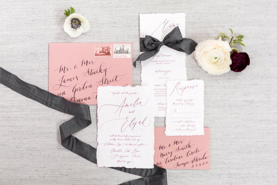 Modern Romantic Black  Mauve Valentine\u0027s Day Wedding Ideas