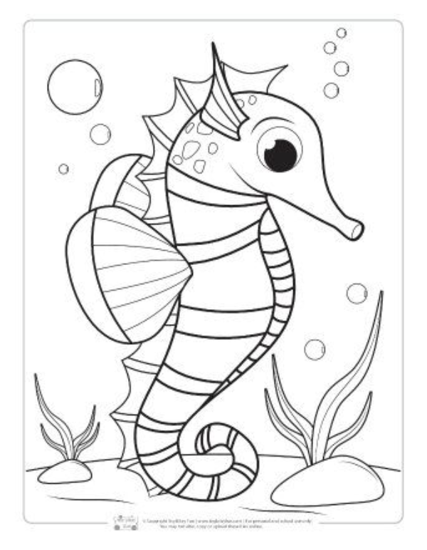 Ocean Animals Coloring Pages For Kids 8211 Seahorse Coloring Pages In 2020 Animal Coloring Pages Ocean Coloring Pages Fish Coloring Page