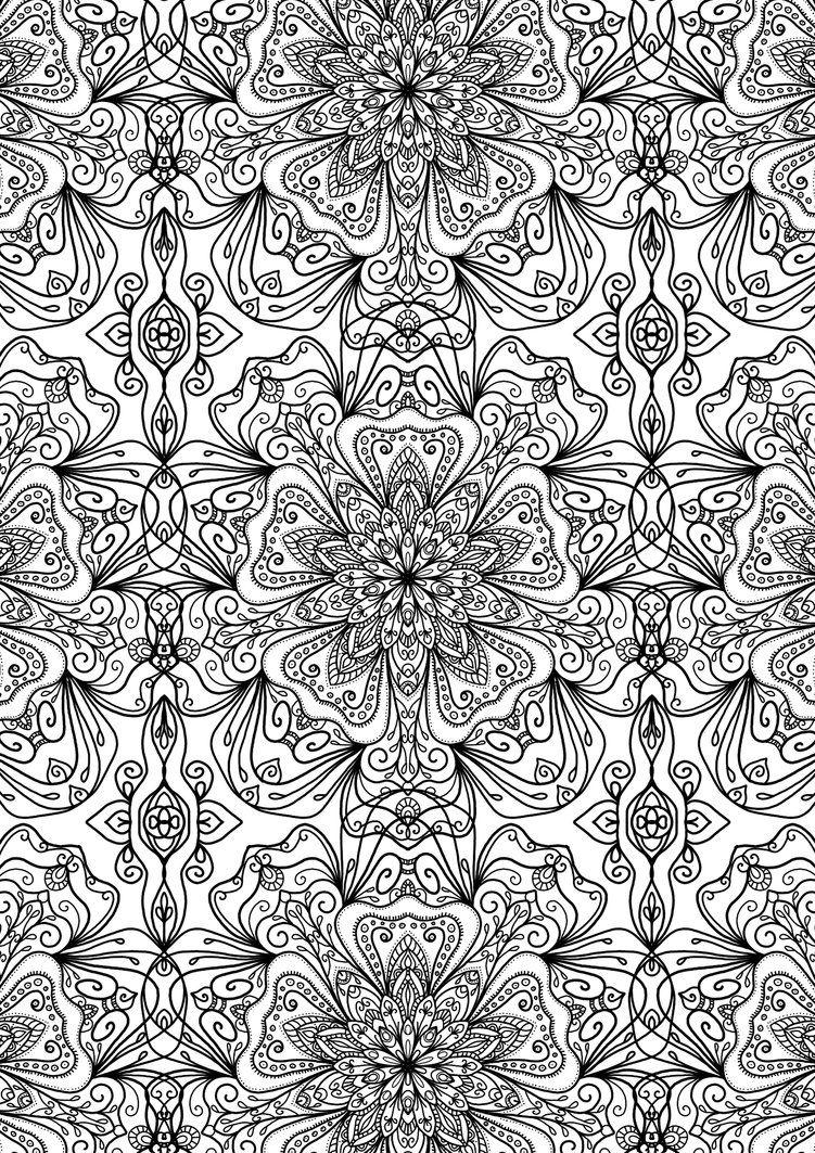 Coloring for adults kleuren voor volwassenen drawings pinterest coloriage coloriage - Mandala adulte ...