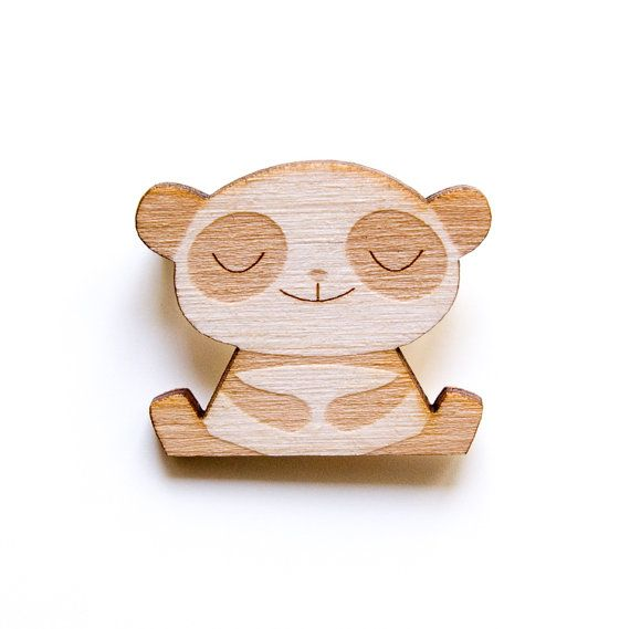 Happy Panda - Wooden Badge / Pin / Brooch Made by Peskimo.com - £7 including postage to UK / £10 RoW