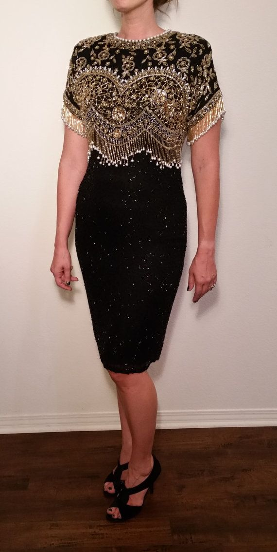 4efc6348952 SALE Black Tie Vintage Dress. Beaded Sequined Pearl Black Cocktail Dress.  New Year s Eve. Size 10