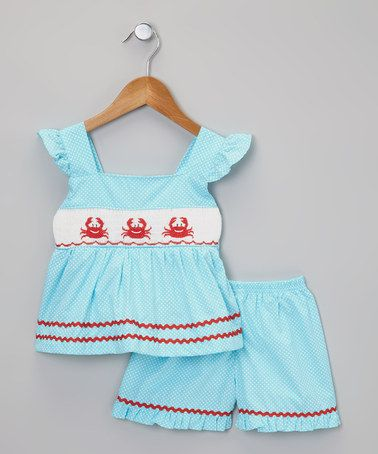 Take a look at this Blue Smocked Crab Top & Ruffle Shorts - Infant, Toddler & Girls by Berry Blues on #zulily today!