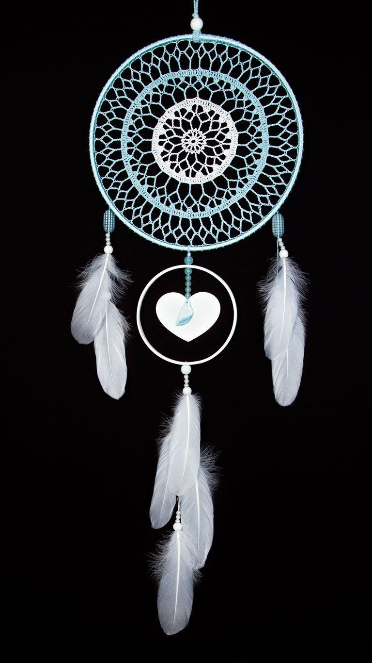 Gran blanco azul tapete de ganchillo hecho a mano sueño