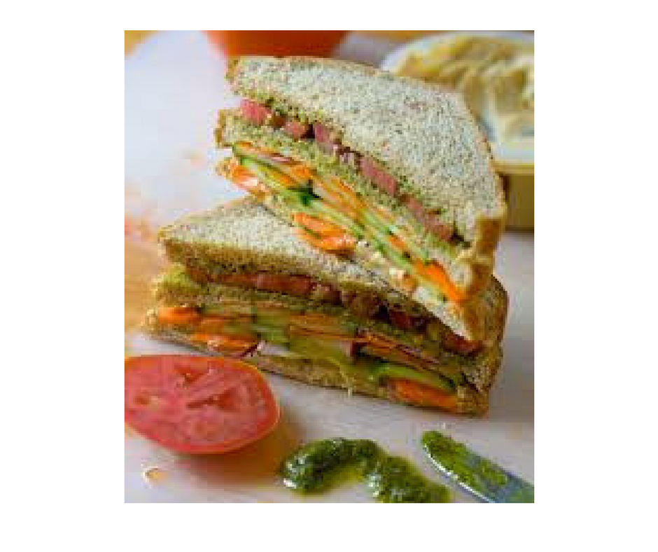 How to make vegetable sandwich in hindistep by step indian food double layer summer vegetable sandwich with hummus and pesto veggie belly find this pin and more on indian food recipe forumfinder Choice Image