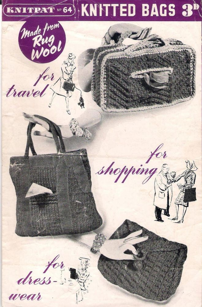 Vintage Knitting Pattern 1940s Knitpat No 64 Three Knitted Bags