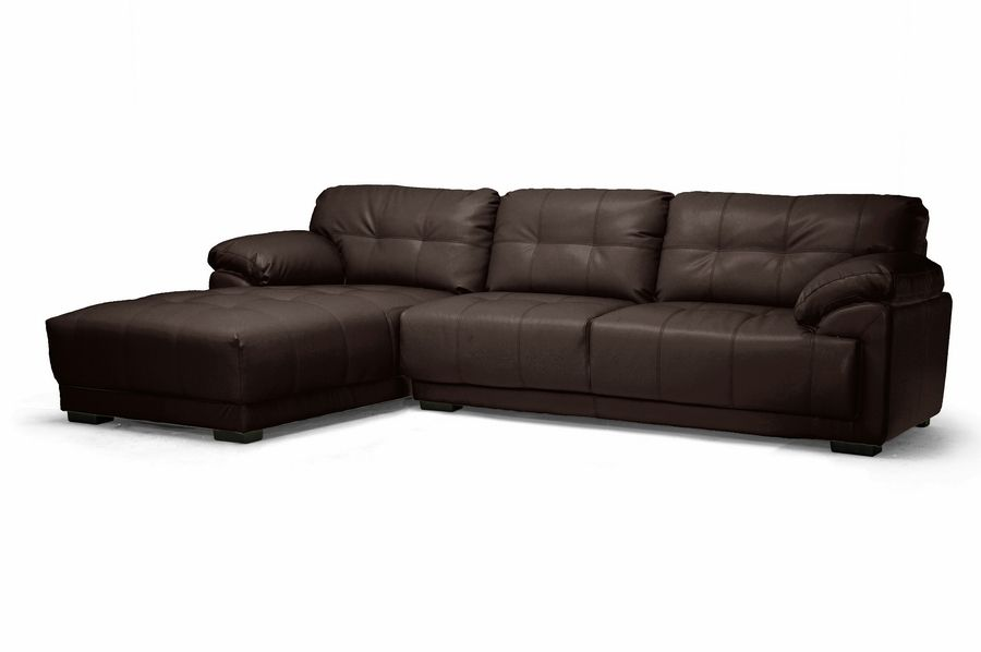 Decarlo Dark Brown Leather Modern Sectional Sofa With Left Facing Chaise Sectional Sofa Sectional Sofa Decor Sectional Sofa With Chaise