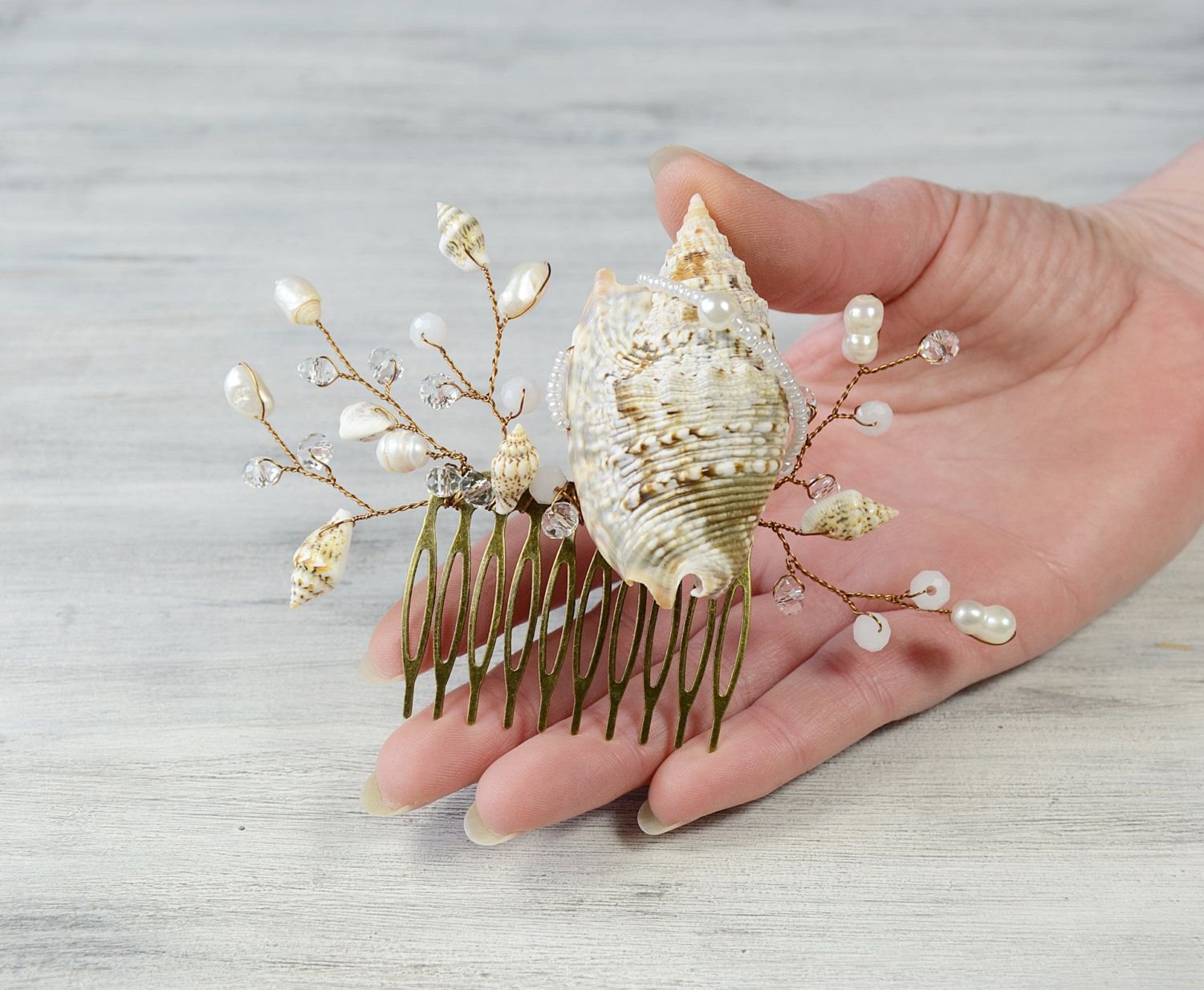 Seashell Hair Accessories,Seashell Hair comb Beach wedding Hair ...