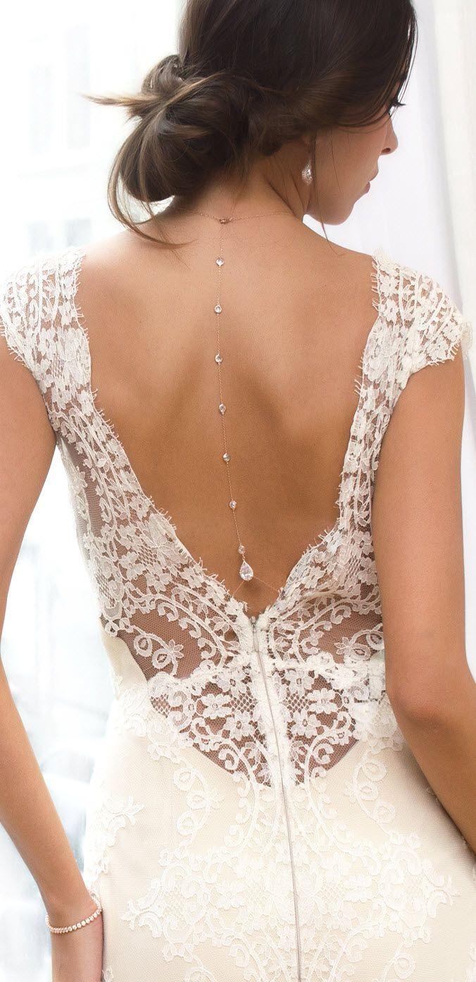 Margaux CZ Back Pendant Necklace   Hochzeitskleider, Brautschmuck ...