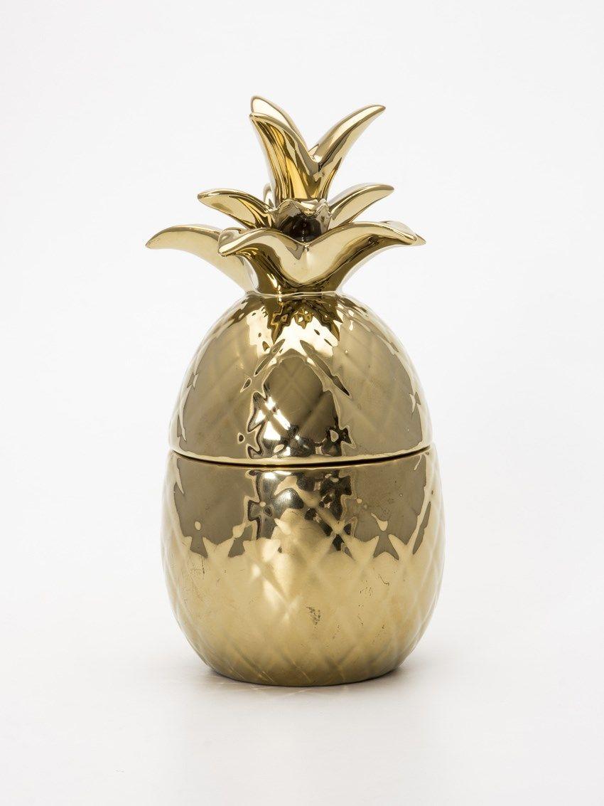 Pote De Ceramica Abacaxi Dourado Collector55 Loja De Decora O  ~ Potes Decorativos Para Cozinha