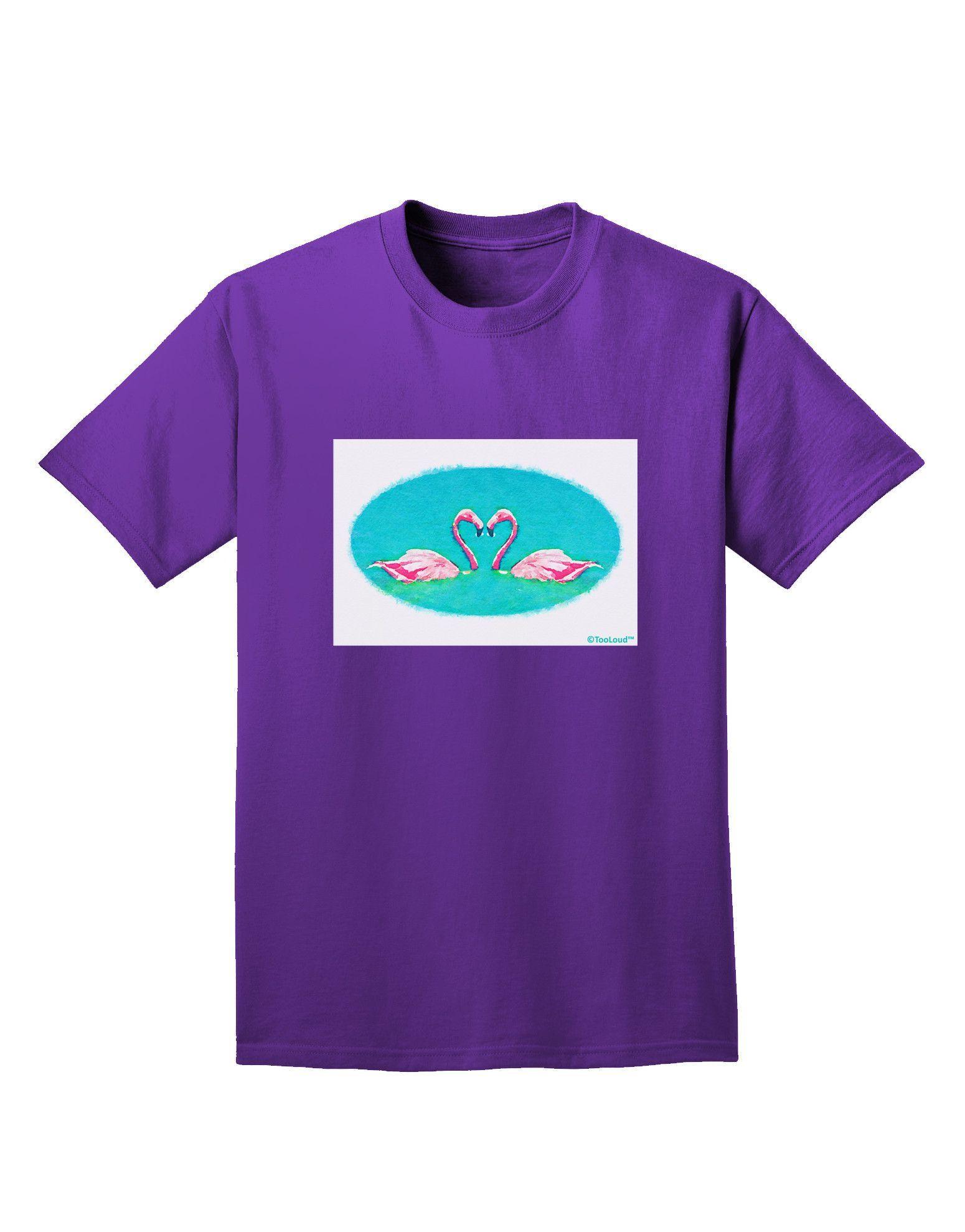 TooLoud Love Birds - Flamingos Watercolor Adult Dark T-Shirt