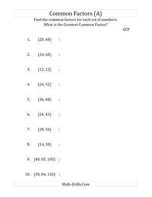 Common Factors and Greatest Common Factor (A) Number Sense Worksheet ...