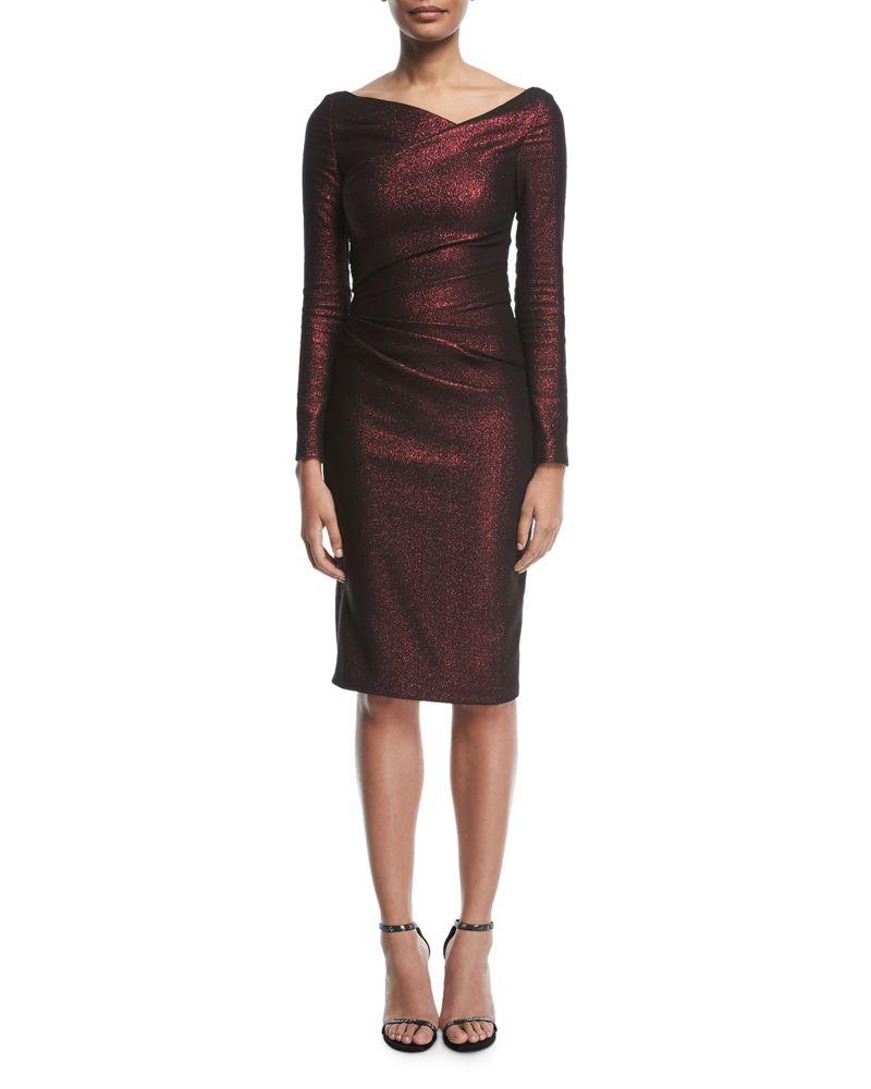 Talbot Runhof Pollex Asymmetric Neck Metallic Scuba Cocktail Dress Cocktail Dress Dresses Metallic Cocktail Dresses [ 1000 x 800 Pixel ]