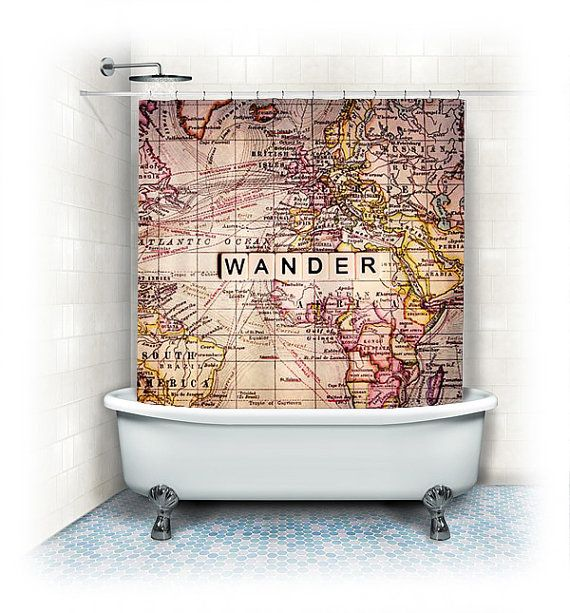 Fabric Shower Curtain Wander World Map Wandertypographytexthome Decor Bath Tubneutralbeigeyellowhome