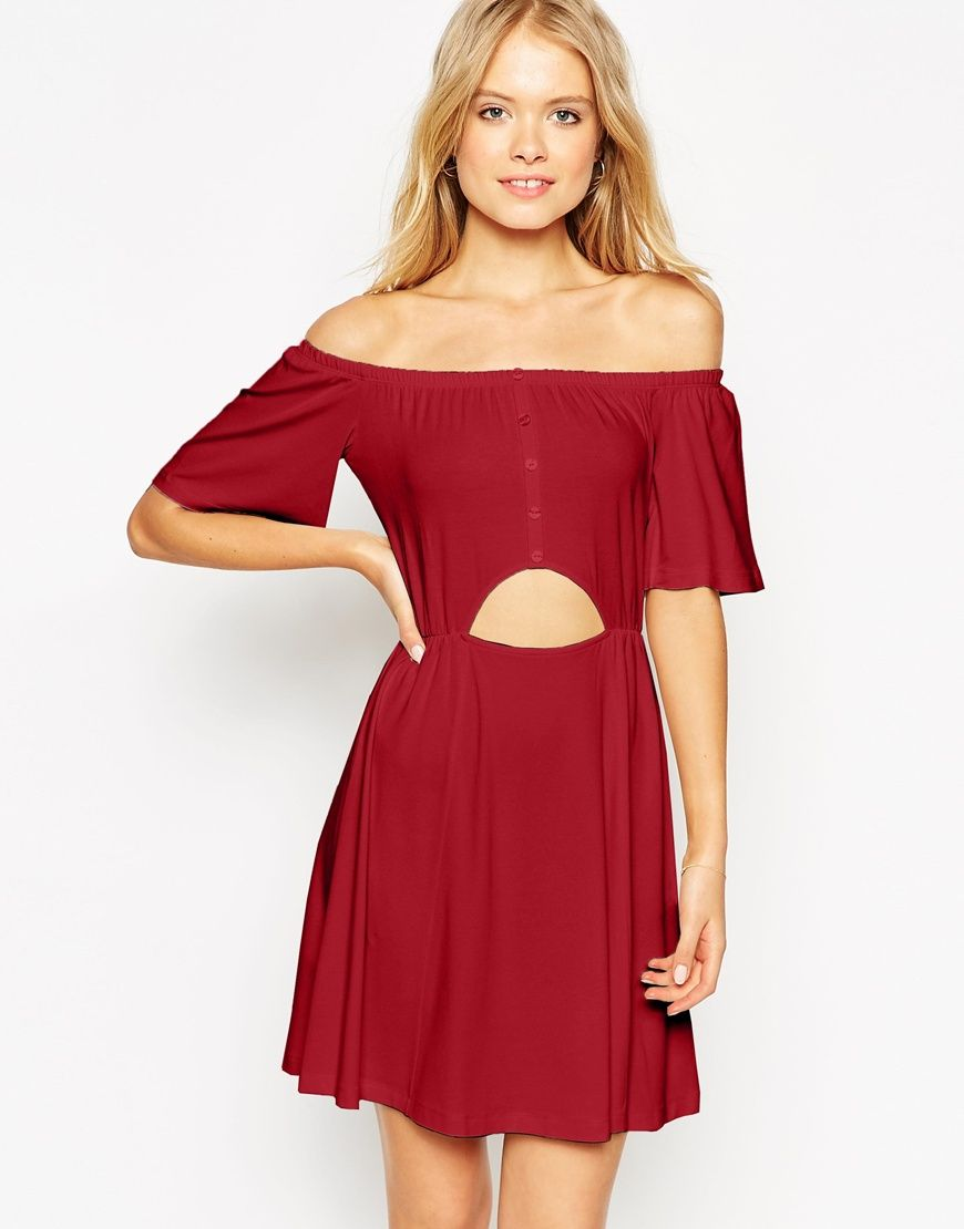 Image of asos gypsy off shoulder skater dress with cut out my