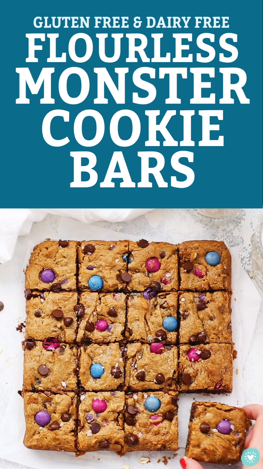 Flourless Monster Cookie Bars (Gluten Free, Dairy Free)
