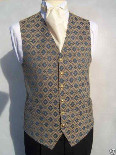MENS WEDDING ANTIQUE GOLD BLUE DRESS SUIT WAISTCOAT | eBay
