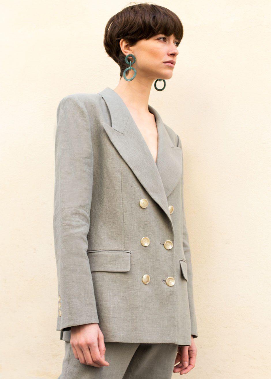 0c49c4e7cc  newarrivals  Linen  Sage  Grey  Blazer  Suit  thefrankieshop  frankiegirl  Sage Grey Peak Lapel Blazer – The Frankie Shop