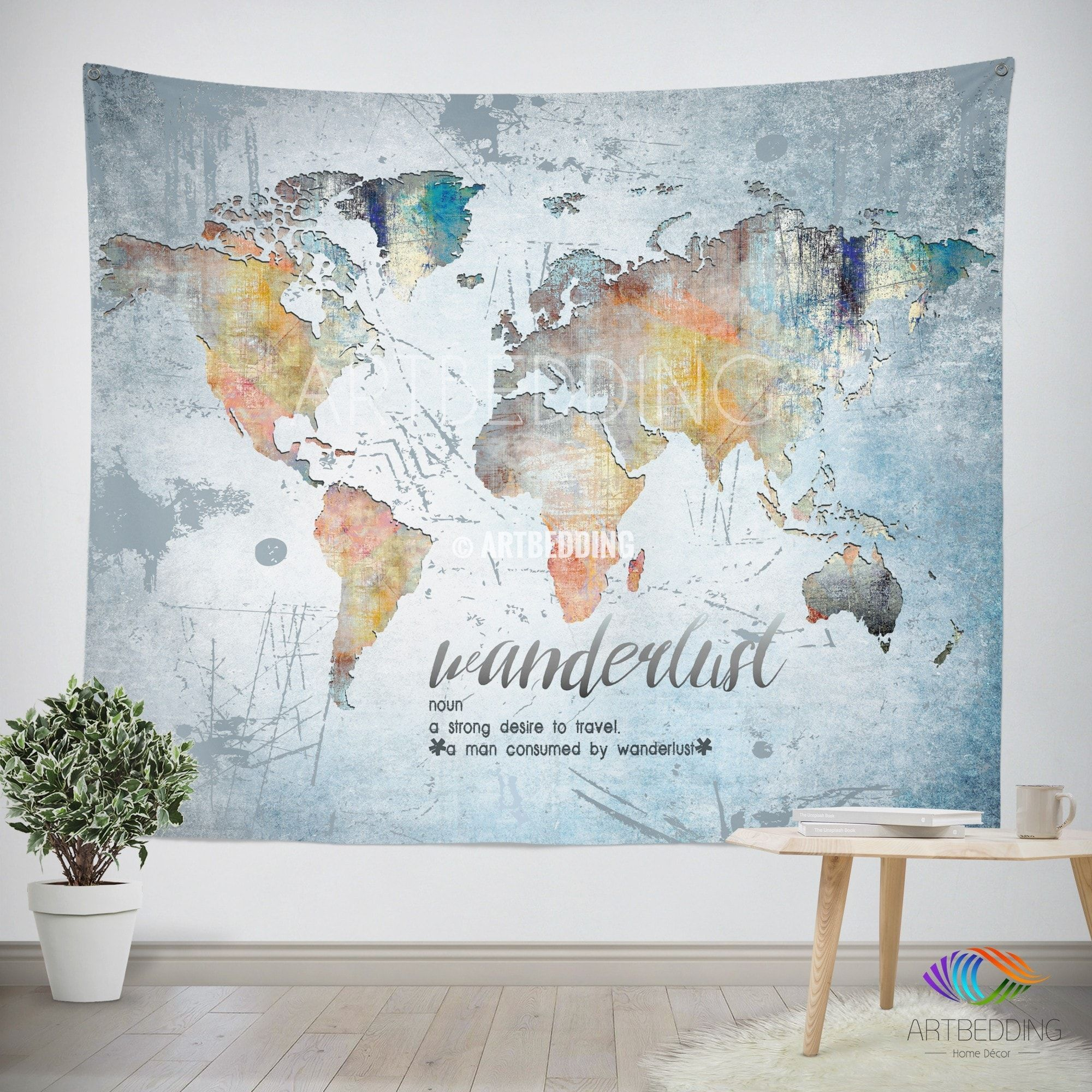 Wanderlust Quote Wall Tapestry World Map Watercolor Wall Hanging