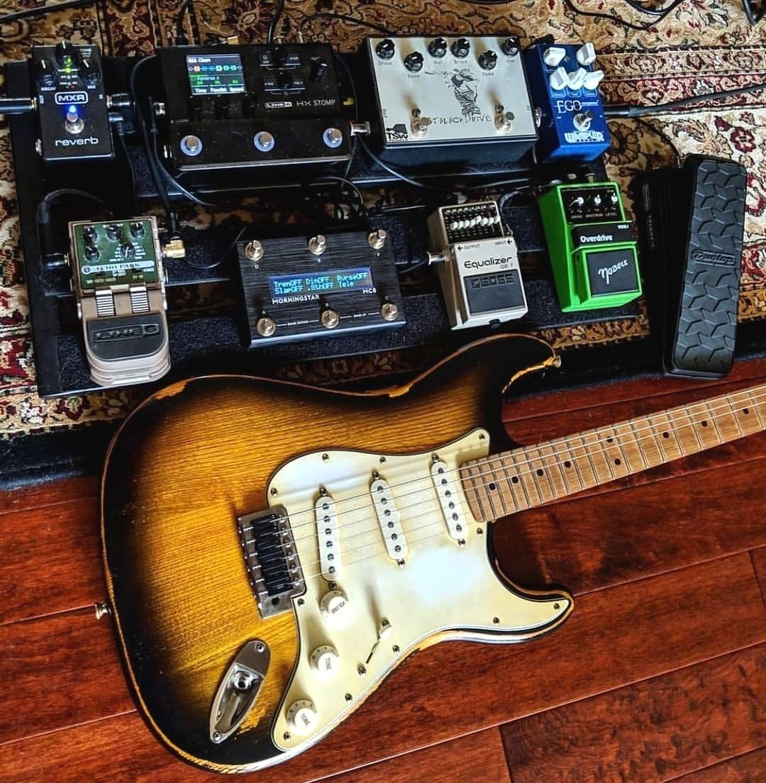 Great Guitar Great Pedalboard Including Boss Eq Mxr Reverb Line6 Hx Stomp And Dunlop Crybaby Wah Guitar Pedalboard Guitar Effects