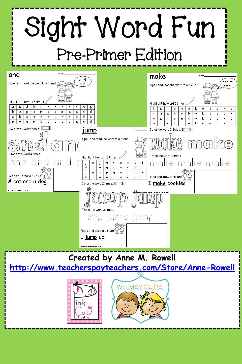 Sight Word Activity Worksheets: Pre-Primer Edition | Sight word ...
