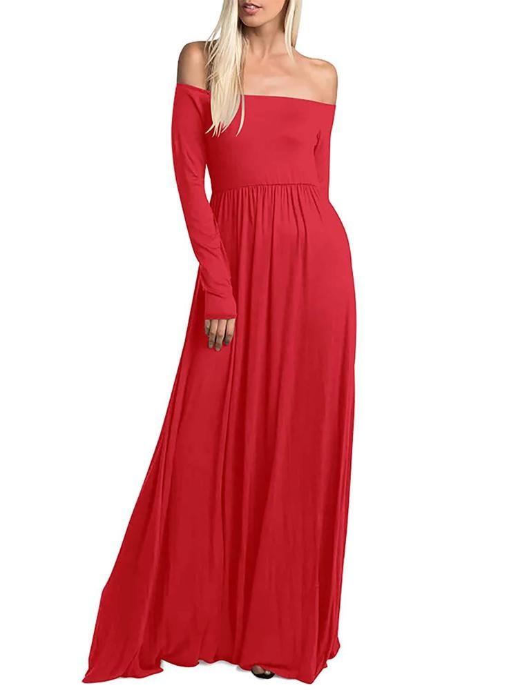 womens long sleeve casual maxi dress