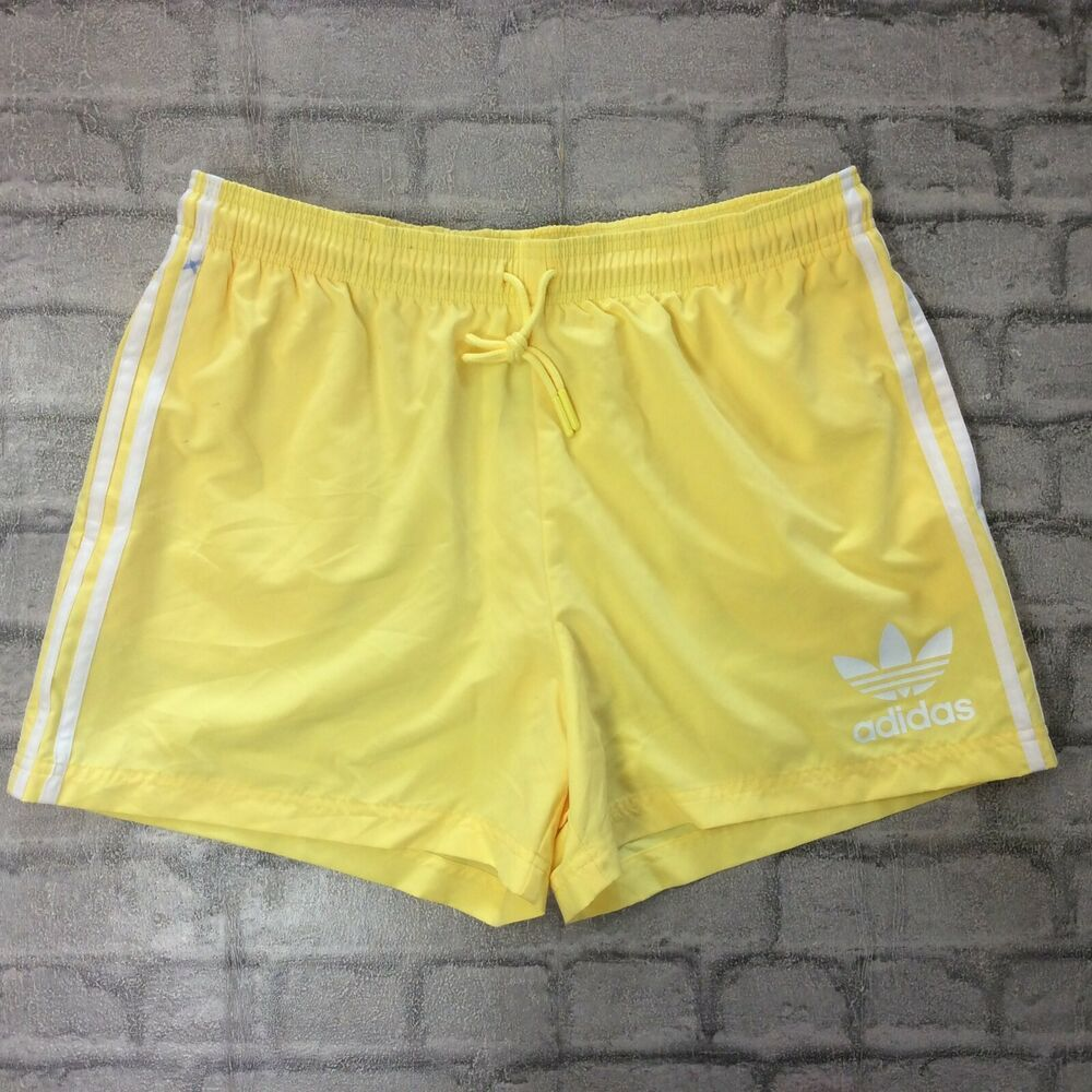 772a0cf92c30ca ADIDAS ORIGINALS MENS UK L YELLOW CALIFORNIA SWIM SHORTS 3 STRIPE SHORTS  SPORTS #fashion #