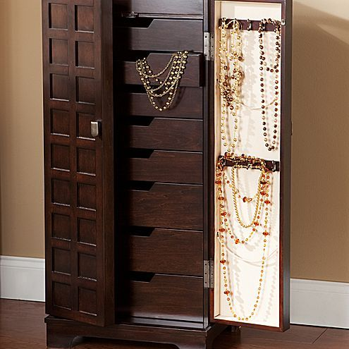 Walnut Finish Panel Front Jewelry Armoire Jcpenney