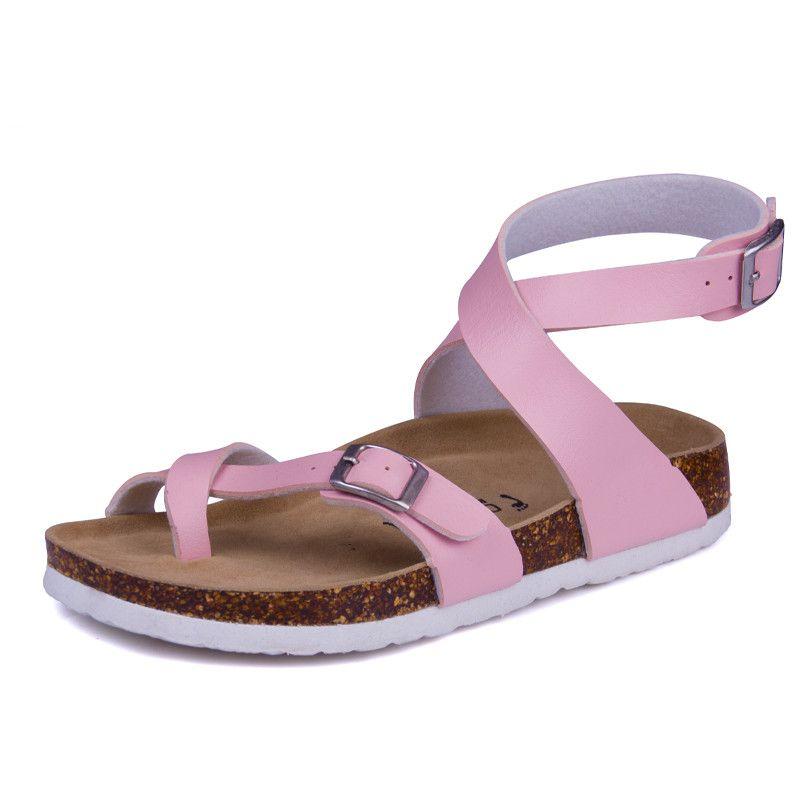edea5839bdd04 Fashion Cork Sandals 2017 New Women Casual Summer Beach Gladiator Buckle  Strap Sandals Shoe Flats Free