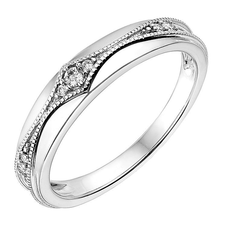 art bands deco diamond milgrain wedding band