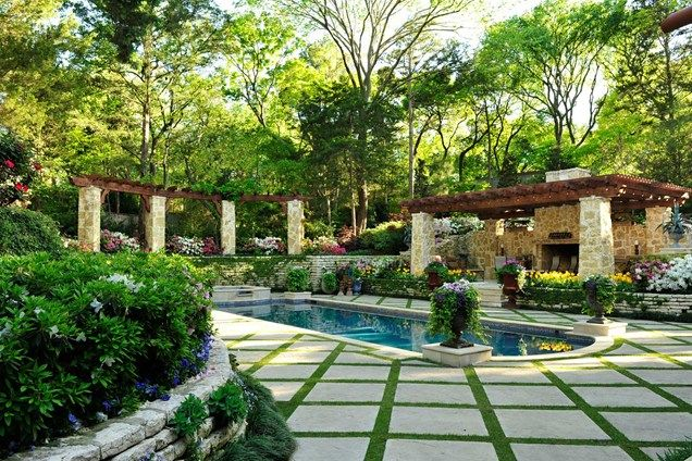 Nice Pool Deck Grass Diamond Pattern, Stone Pergola Columns Pergola And Patio  Cover Harold Leidner Landscape