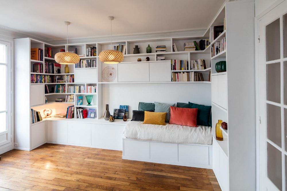 Bibliotheque Avec Banquette Sur Mesure Compagnie Des Ateliers Idee Deco Petit Appartement Bibliotheque Angle Banquette Salle A Manger