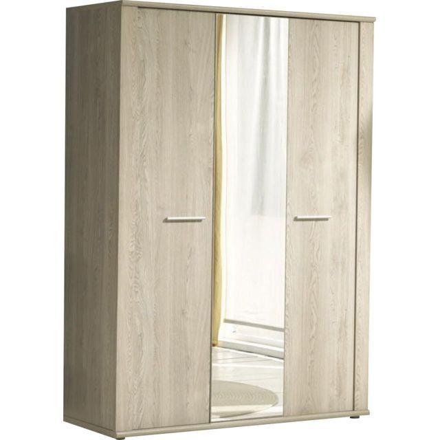 Comforium Armoire à 3 portes + miroir coloris chêne d\u0027hiver design - porte d armoire coulissante