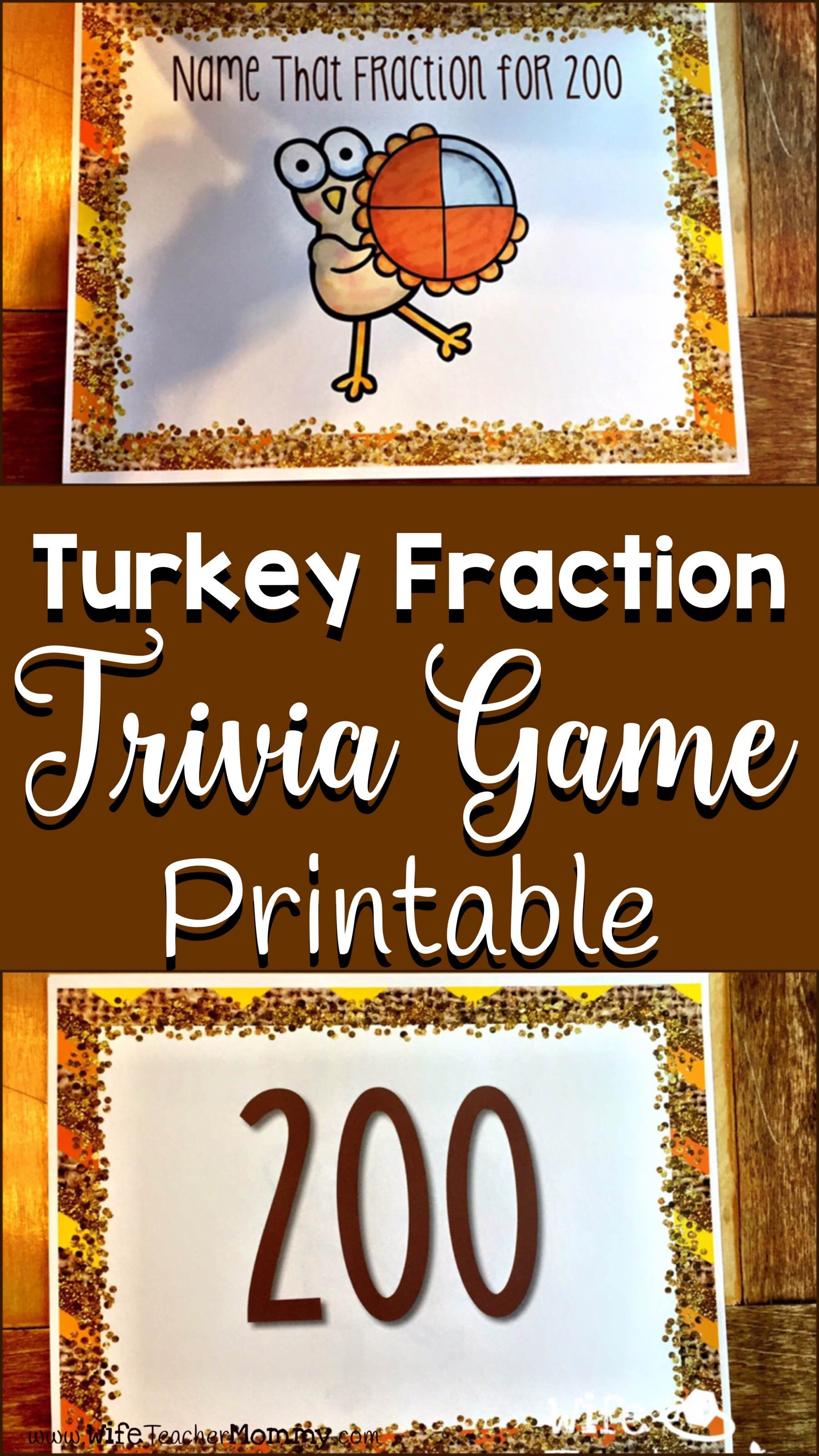 Thanksgiving Fractions Turkey Fraction Trivia Game