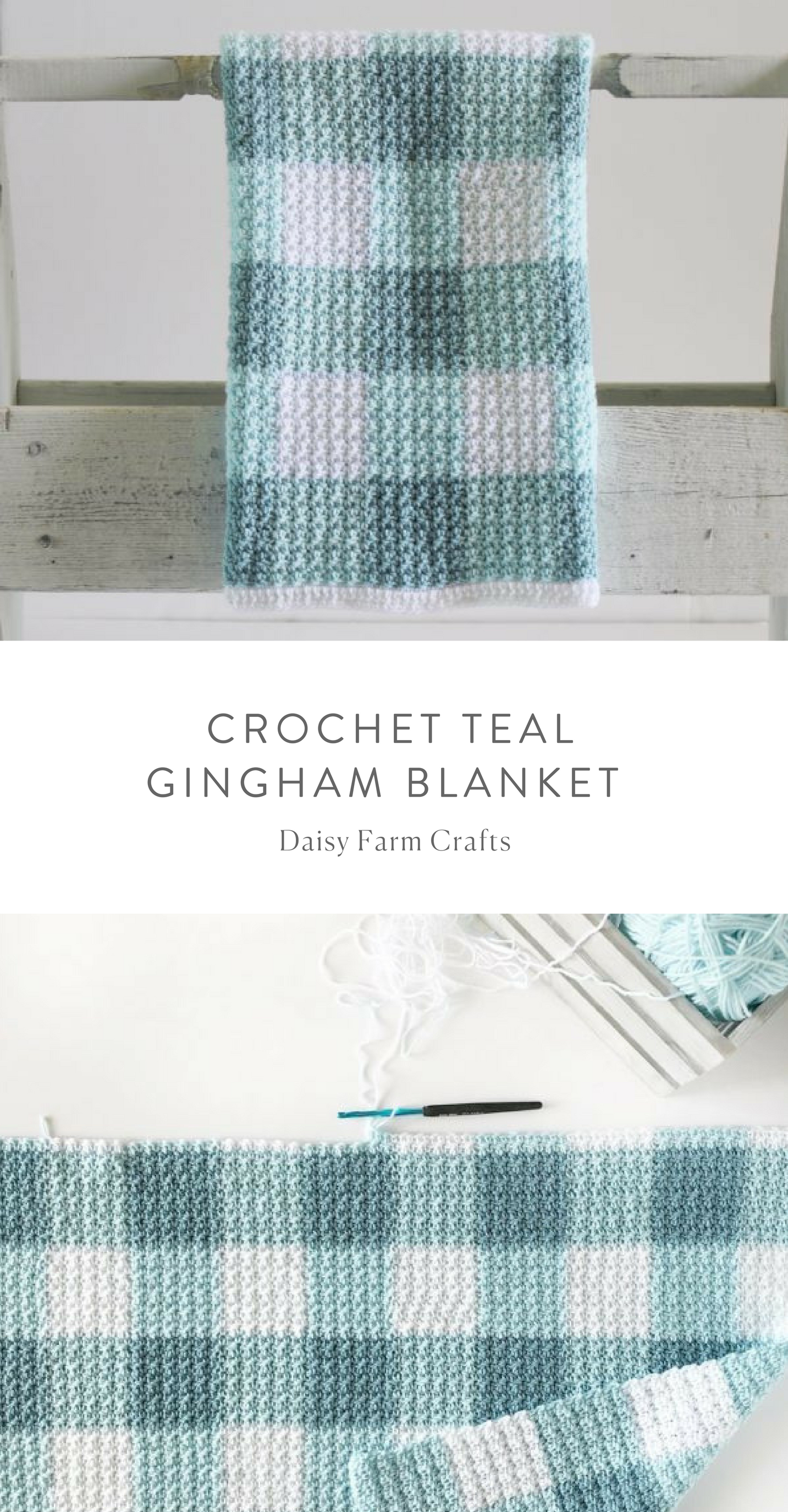 Free Pattern - Crochet Teal Gingham Blanket | Knitting and ...
