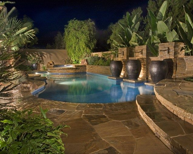 Swimming Pool Water Feature Large Urns Swimming Pool Alderete Pools Inc San Clemente Ca Backyard Pool Landscaping Pool Landscaping Luxury Swimming Pools