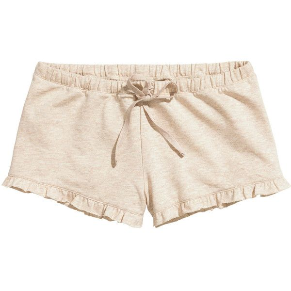 c9fe2fe0a176c H&M Jersey pyjama shorts ($12) ❤ liked on Polyvore featuring shorts, light  beige, mini shorts, hot shorts, micro shorts, hot pants and jersey shorts