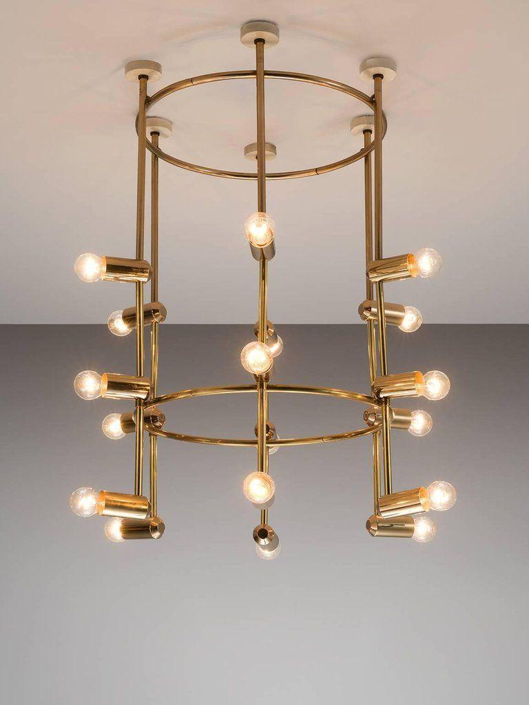 Mid Century Modern Large Round Brass Swiss Chandelier 1960s