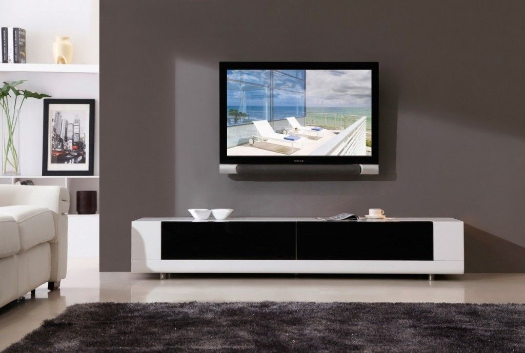 Combine Your Living Space With Black And White Tv Stand And Gray Carpet For Living Room And Gray Contemporary Tv Stands Black Living Room Modern Media Cabinets