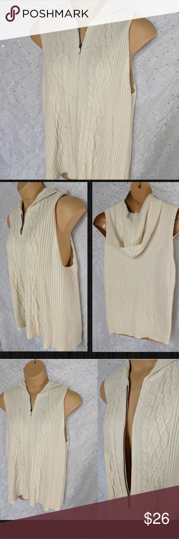 Xxl Eddie Bauer Hooded Cable Knit Sweater Vest Cable Knit Sweaters Sweater Vest Cream Colored Hoodie
