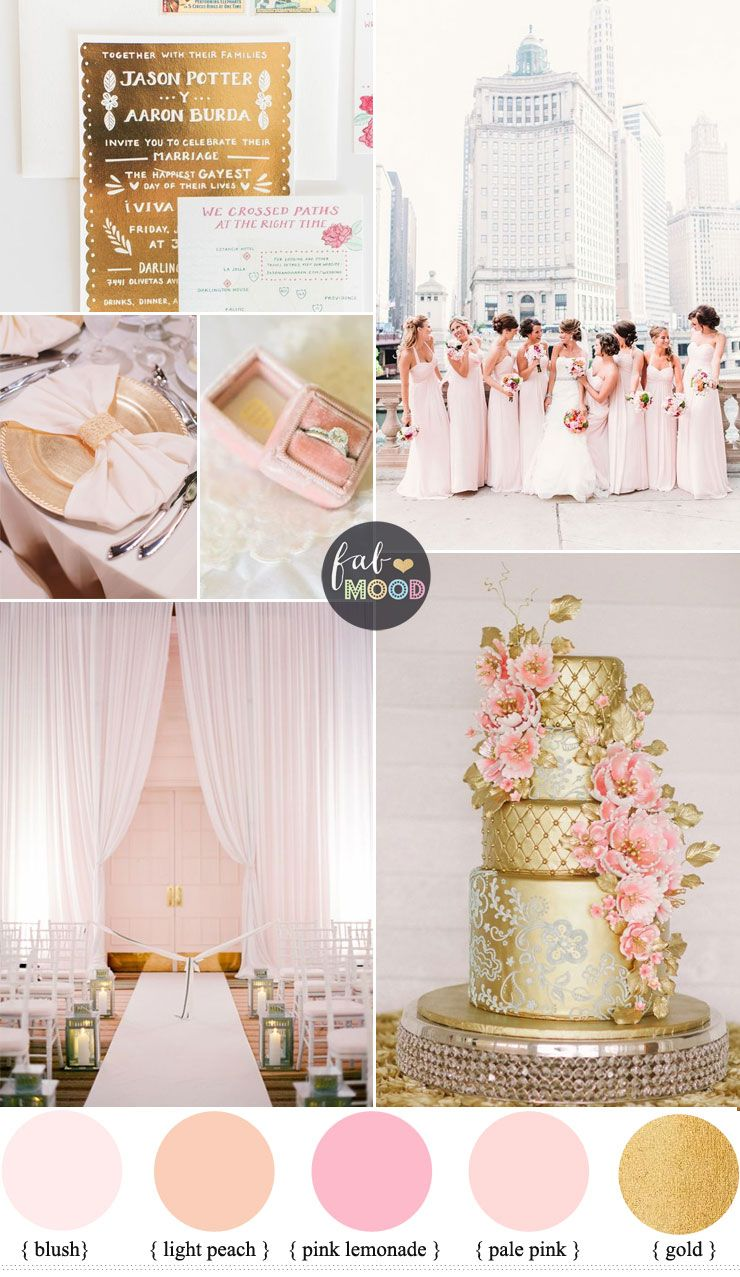Glamorous Ballroom Wedding Shades Of Blush Pink And Gold Wedding