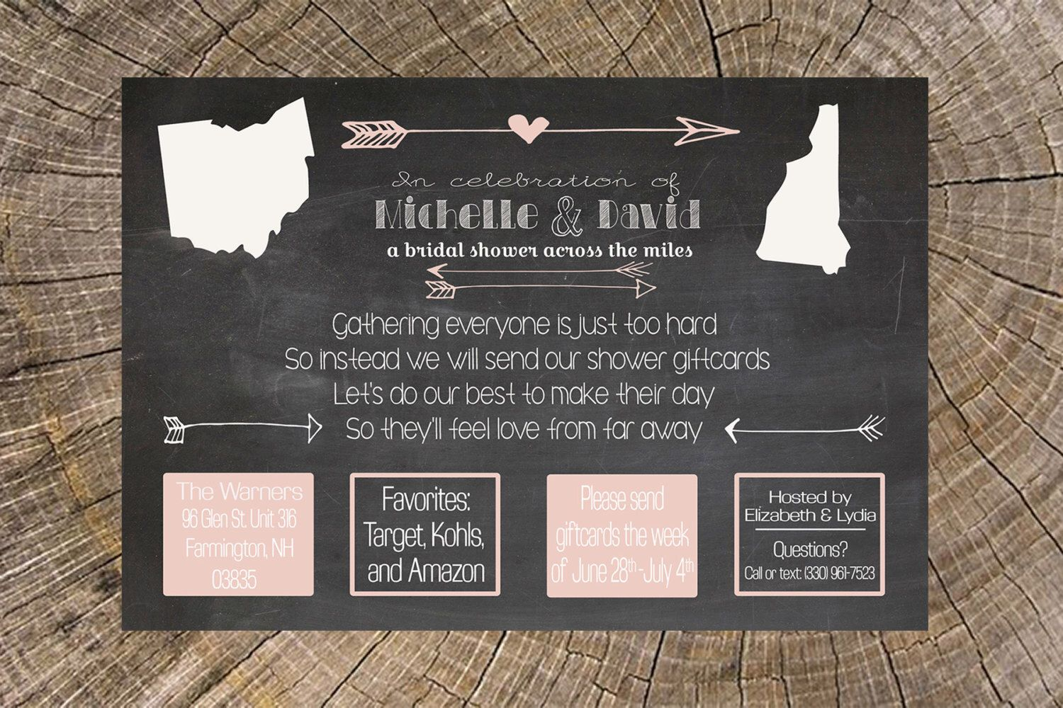 Long distance bridal shower by js7designs on etsy https