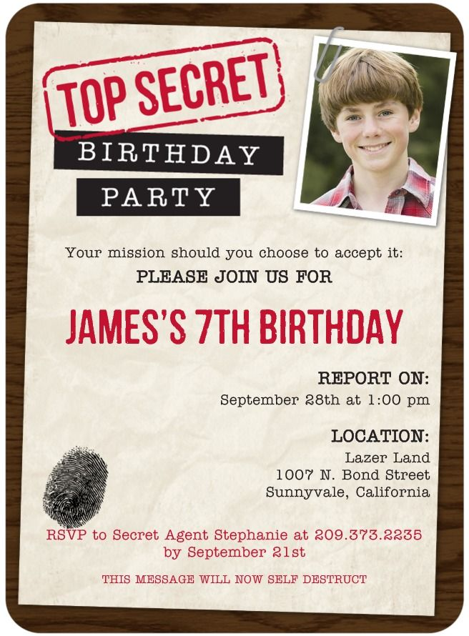 Top Secret Mission - Birthday Party Invitations in Truffle ...