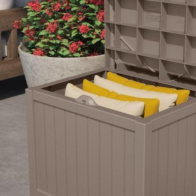 Suncast 22 Gal Taupe Small Storage Seat Deck Box Pinterest Deck