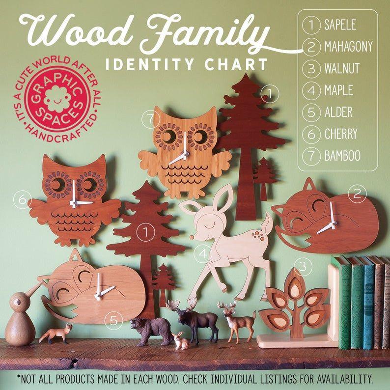 Holz Kinderzimmer Wanduhr Eichhörnchen Wald Wald Tier