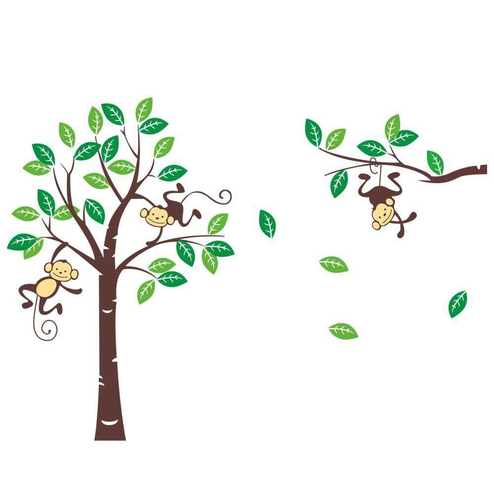 Songmics 226 x 162cm Groß Bäume Affen für Kinderzimmer Wandtattoo ...