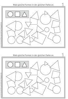 gleiche formen erkennen und gleich anmalen lernen arbeitsbl tter vorschule vorschule. Black Bedroom Furniture Sets. Home Design Ideas